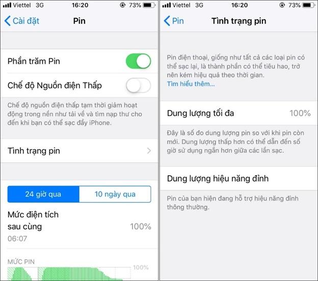 Thông tin về Tình trạng pin iPhone của bạn