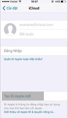 """Chọn """"Tạo Apple ID mới"""""""