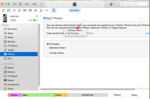 Tùy chọn Folder ảnh muốn copy sang iPhone