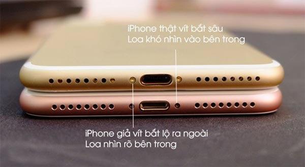 iPhone 7 Plus thật với phần loa và đinh vít được thiết kế và gia công tỉ mỉ