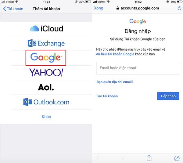 Đăng nhập tài khoản Gmail trên iPhone trước khi tiến hành đồng bộ danh bạ