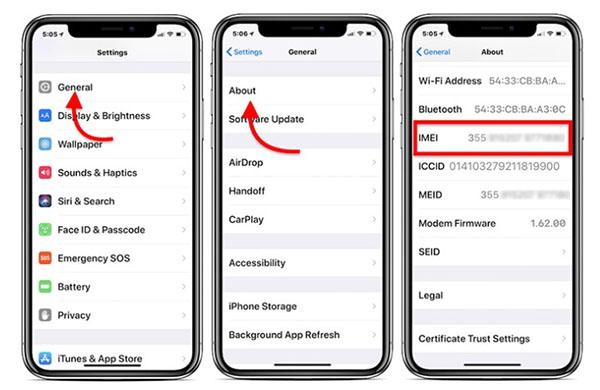 Lấy mã số imei trên điện thoại iPhone rồi tra cứu trên website Apple