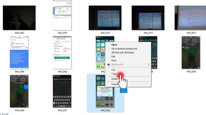 Nhấn chọn hình ảnh muốn copy từ iPhone sang máy tính