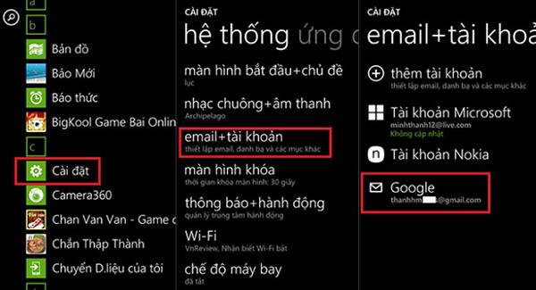 Đồng bộ danh bạ Windows Phone lên Gmail