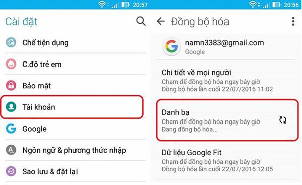 Cách đồng bộ danh bạ từ điện thoại Android với Gmail