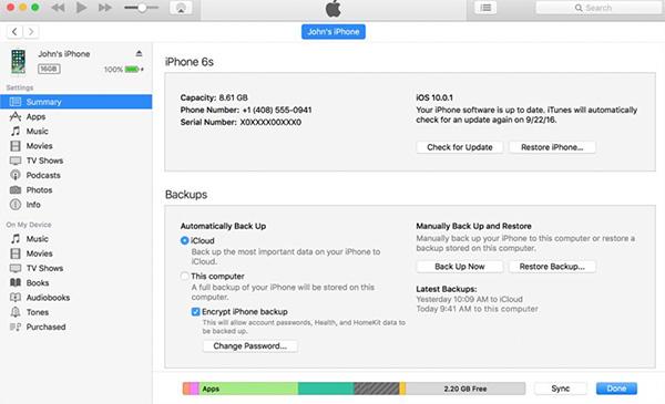 Công cụ iTunes sẽ kết nối hoạt động và cập nhật thông tin của thiết bị