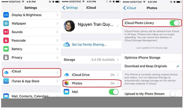 Tắt tính năng Thư viện ảnh iCloud trên iPhone