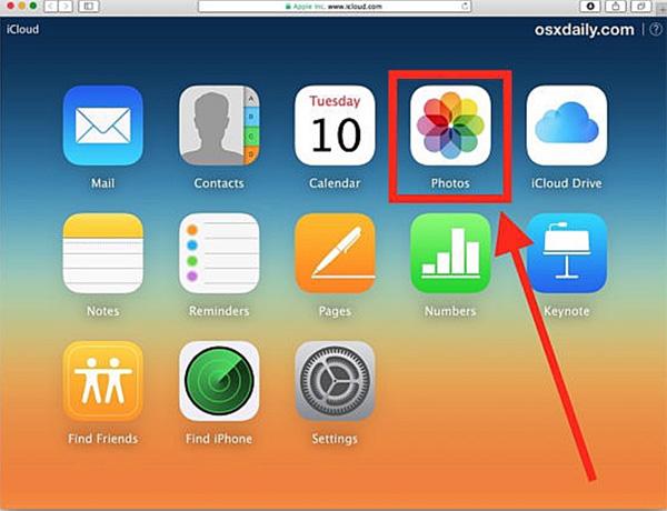 Chọn mục hình ảnh trên iCloud