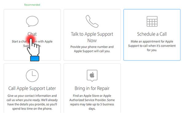 """Chọn """"Chat"""" để có thể trao đổi trực tiếp với nhân viên kỹ thuật của Apple."""