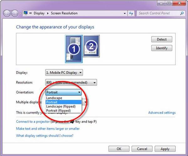 Chọn mục Screen Resolution để tùy chỉnh thiết lập màn hình