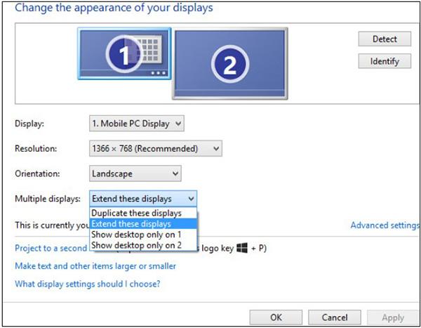 Bạn có thể sử dụng phím tắt Windows + P để chuyển đổi 2 màn hình nhanh chóng.