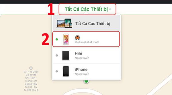 Chọn Tất Cả Các Thiết bị rồi chọn thiết bị iPhone cần tìm.