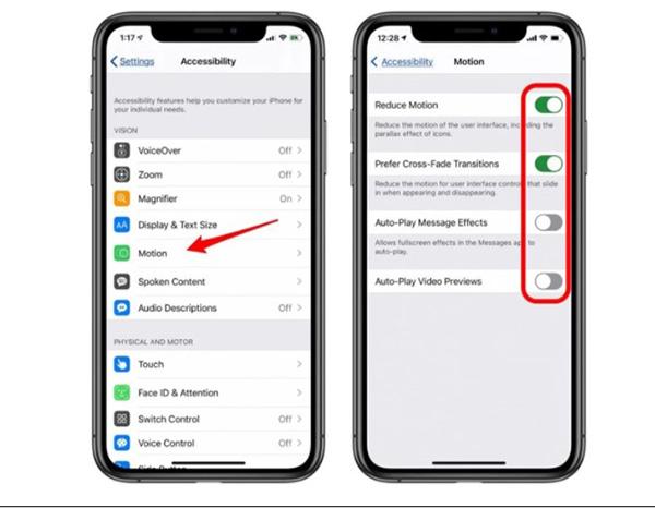 Giảm chuyển động trên iOS 14