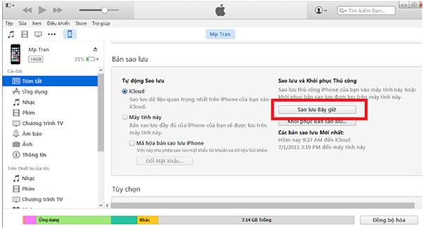 Đồng bộ iPhone với máy tính bằng iTunes