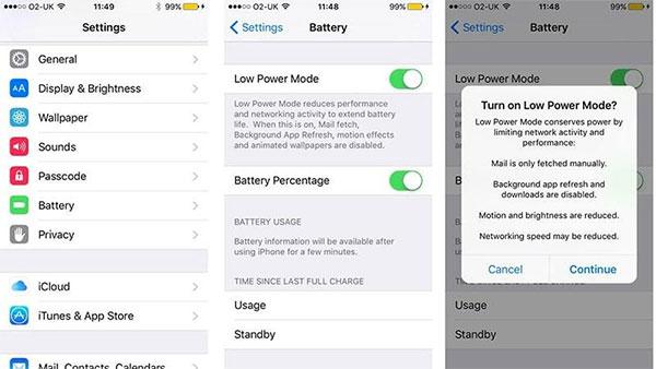 Hạn chế khi sử dụng chế độ tiết kiệm pin iPhone