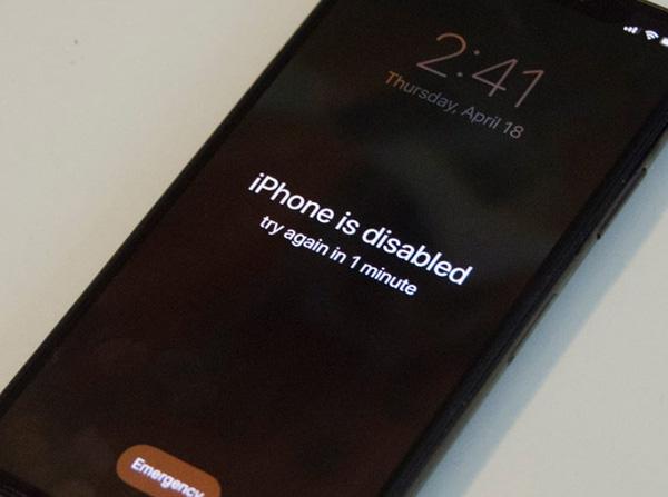 Nhập sai mật khẩu từ 6 lần: iPhone bị vô hiệu hoá trong 1 phút.