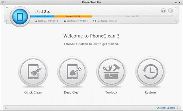 PhoneClean giải phóng dung lượng bộ nhớ lưu trữ trên máy