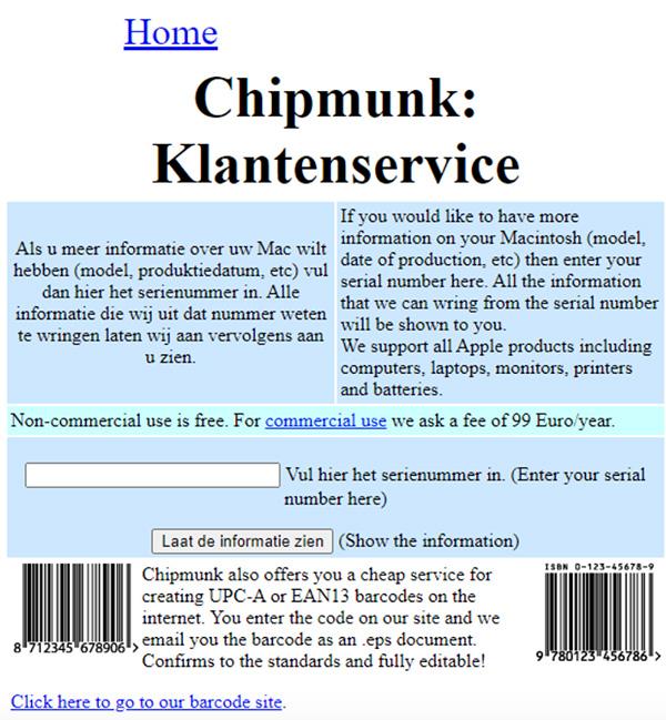 Kiểm tra ngày sản xuất iPhone bằng công cụ online Chipmunk