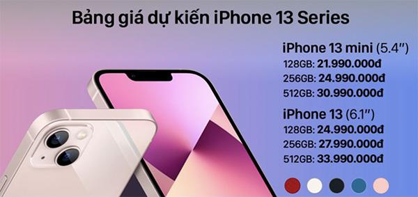 Bảng giá dự kiến iPhone 13 mini và iPhone 13 khi về Việt Nam.