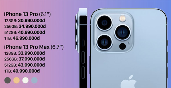 Giá dự kiến iPhone 13 Pro và 13 Pro Max khi về Việt Nam